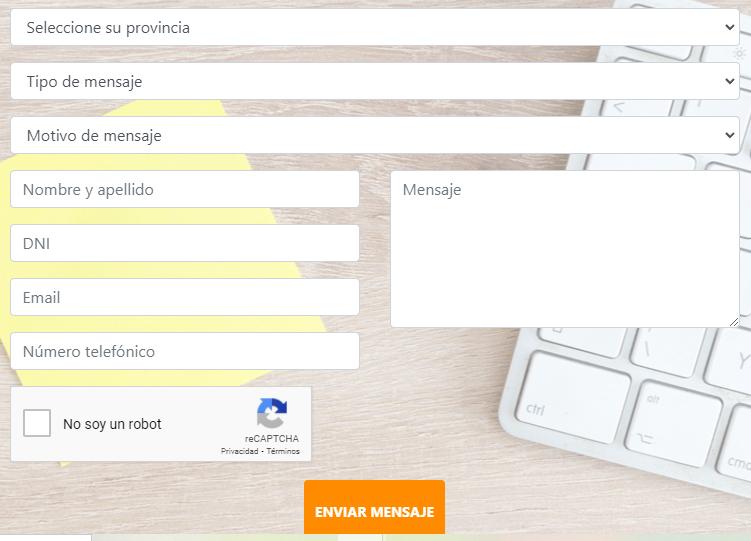 formulario de contacto tarjeta sol